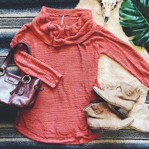 [FREE • PEOPLE] burnt orange cowl neck sweater L